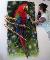 Macaw made with color SAND by AtomiccircuS