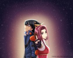 Yusei and Aki by Scarlet---Sky