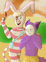 Popee and kedamono by FlamingoInk