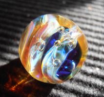 Amber and cobalt bauble glass pendant by fairyfrog