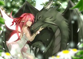 Fairy and Dragon by mo-nochrome