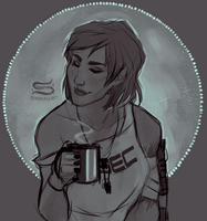 Shepard Needs Coffee by CrazySuperior