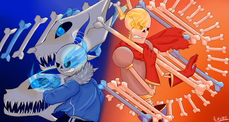 Sans and Papyrus Battle by kitty4915