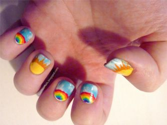 Misc. - sunshine and rainbows nails by ShiversTheNinja