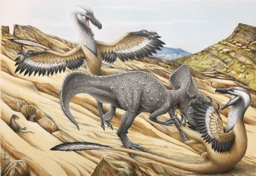 Protoceratops and Velociraptor by RavePaleoArt