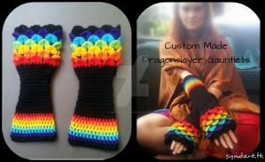 Custom Made Rainbow Dragonslayer Gauntlets by mascaraeyez