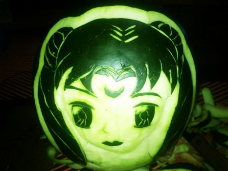 Sailor Moon carved on Watermelon by AmaranthLevana
