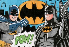 Batman Sketch Cards - Adam West and Michael Keaton by calslayton