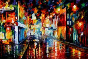 Rain City by Leonid Afremov by Leonidafremov