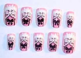 Pink Lolita Nail Design by The-Lady-of-Kuo