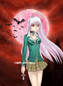 Rosario + Vampire (Inner Moka) - Blood Moon by China-Girl-Doll