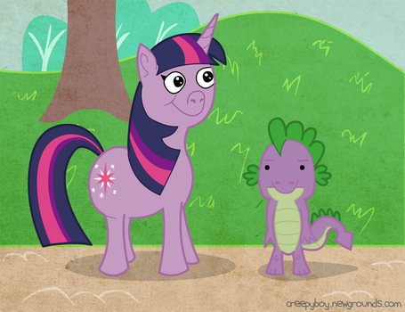 Twilight Sparkle and Spike by creepyboy