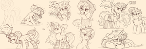 Starlight, Trixie and Sunset Sketchage by NCMares
