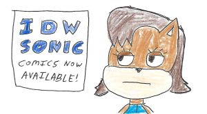 Sally Acorn notices an IDW Sonic comics sign by dth1971