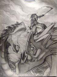 Samourai vs 2 heads Dragon by KingVI