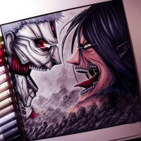 Eren Jaeger Vs. Armored Titan - Drawing by LethalChris