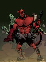 Abe, Hellboy and Liz - Colour by ReverendTrigster