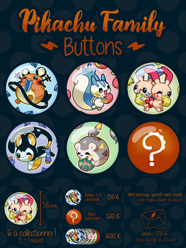Pikachu Family Buttons by PinkGermy