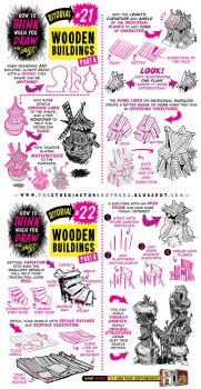 How to Draw WOODEN BUILDINGS CABINS SHACK tutorial by STUDIOBLINKTWICE