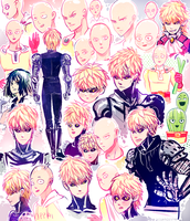 OnePunch Man sketches by visualkid-n