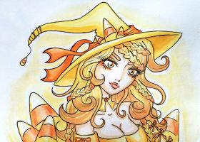 Candy Corn Witch by starbuxx