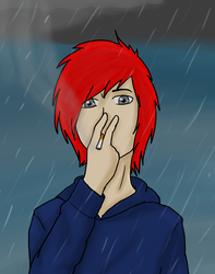 Smoking in the rain by Ms-Creepy on DeviantArt