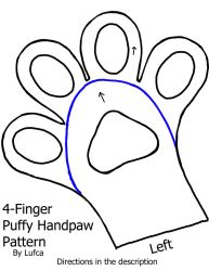 Free 4 Finger Puffy/Toony Handpaw Pattern by Lufca