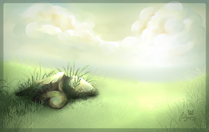 A rock, some clouds and grass by charfade