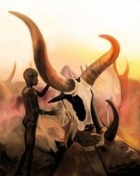 Dinka in Sudan Painting by timohuovinen