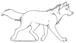 Trotting Wolf Lineart by mirzers