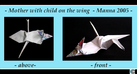 Flying mother crane with child by MannaOri