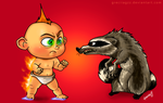 Jack Jack vs Raccoon by greciiagzz