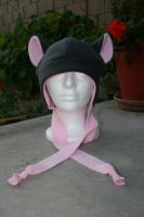 Gray and Pink Fleece Hat by Jolly-Jess
