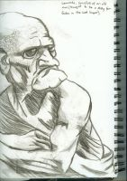 Old Man Pencil Drawing by puckatdeviantart