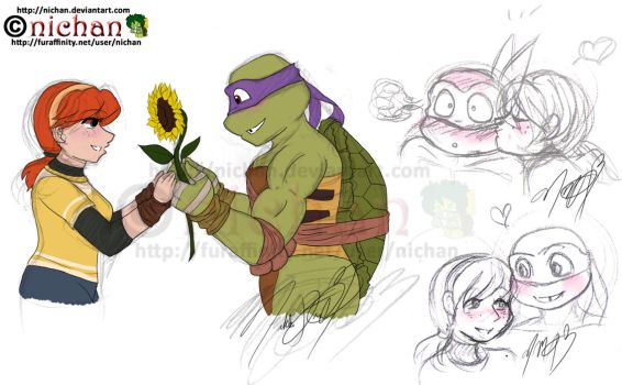 TMNT 2012 - Donnie x April by nichan