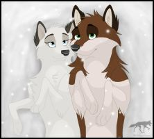 Together in the snow by AriaDog