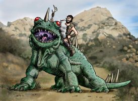 Ringo Starr Rides a Dinosaur.. by Loneanimator