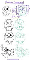 Rowlet - research and practice sheet by Minks-Art