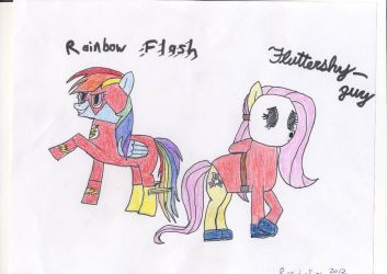 Fluttershy-guy and Rainbow Flash by Rapid-Fire55