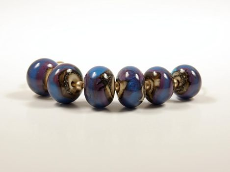 Peacock Organic Lampwork Beads by CopperDancer