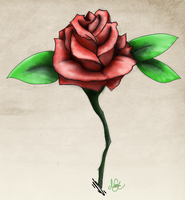 Tattoo style rose by mezwik