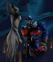 TF5 - Optimus Prime vs Quintessa by shadowdrawtf