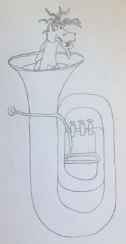 Puff stuck in a Titanic Tuba by puffedcheekedblower