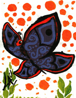 Painting with acrylics: Butterfly by kuki4982