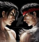 Tekken X Street Fighter: Jin Kazama/ Ryu Cover Art by JophielS