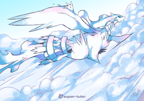 Reshiram Soaring Above by super-tuler