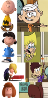 Loud House and Peanuts Character Comparisons by DEEcat98