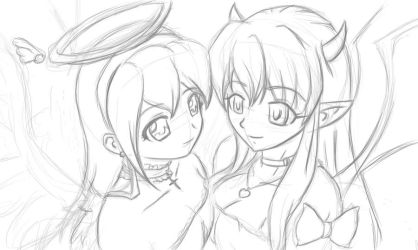 Tomo and Anna sketch by soul-less-puppet