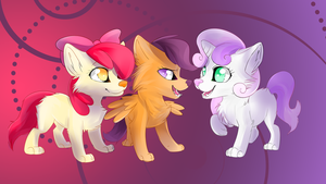 Cutie Mark Crusaders wolf wallpaper by AvareQ