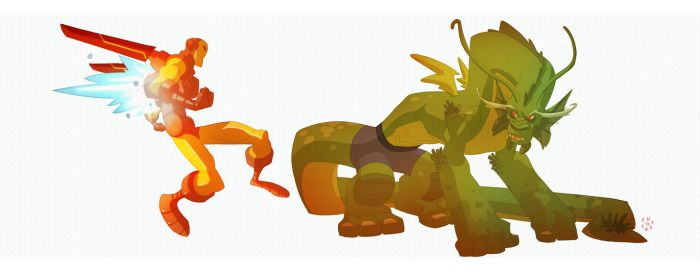 Iron Man and Fin Fang Foom by cheeks-74
